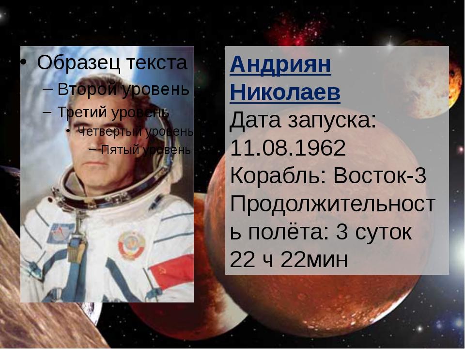 Андриян Николаев Дата запуска: 11.08.1962 Корабль: Восток-3 Продолжительност...