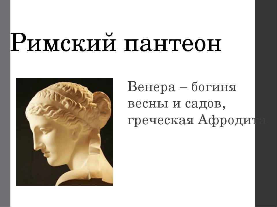 Римский пантеон Венера – богиня весны и садов, греческая Афродита