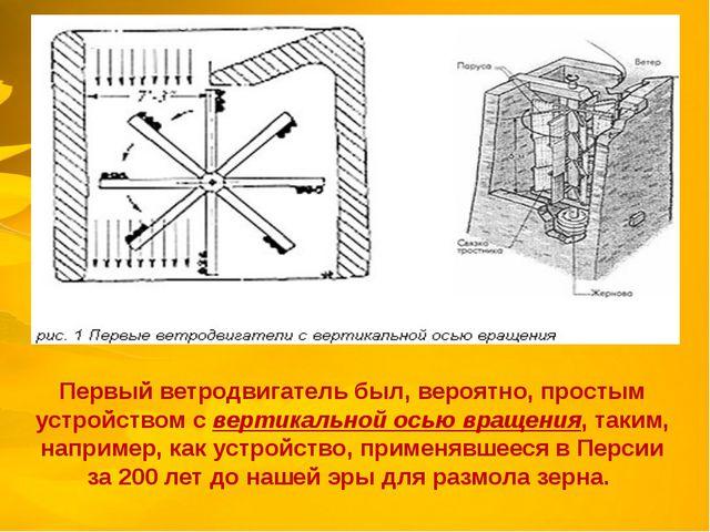 Первый ветродвигатель был, вероятно, простым устройством с вертикальной осью...