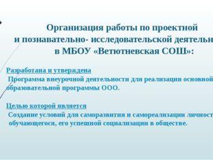 Организация работы по проектной и познавательно- исследовательской деятельнос