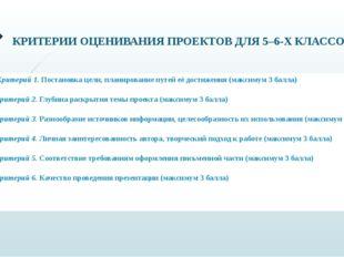 КРИТЕРИИ ОЦЕНИВАНИЯ ПРОЕКТОВ ДЛЯ 5–6-Х КЛАССОВ Критерий 1.Постановка цели,