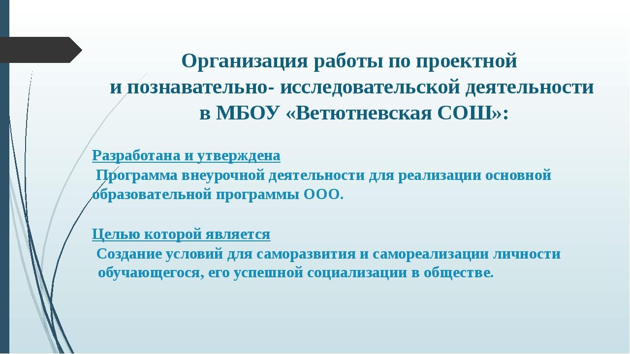 Организация работы по проектной и познавательно- исследовательской деятельнос...