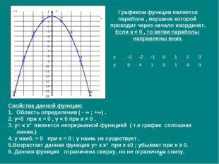 Графиком функции является парабола , вершина которой проходит через начало ко