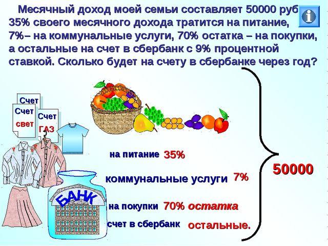 Месячный доход моей семьи составляет 50000 руб. 35% своего месячного дохода...