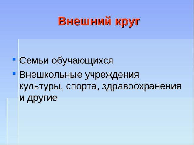 Внешний круг Семьи обучающихся Внешкольные учреждения культуры, спорта, здрав...