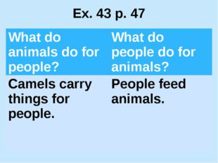 Ex. 43 p. 47 What do animals dofor people? What do people do for animals? Cam