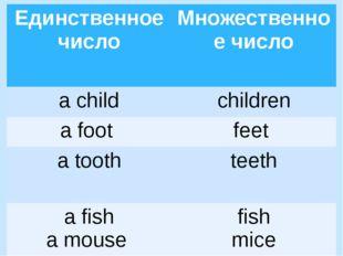 Единственноечисло Множественное число a child children a foot feet a tooth te