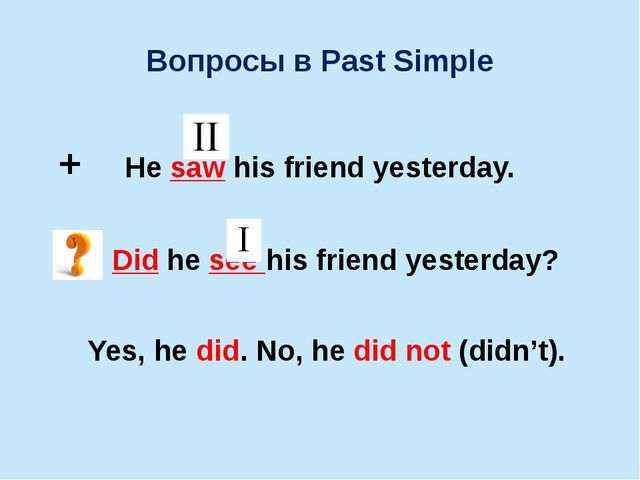 Вопросы в Past Simple + He saw his friend yesterday. Did he see his friend ye...