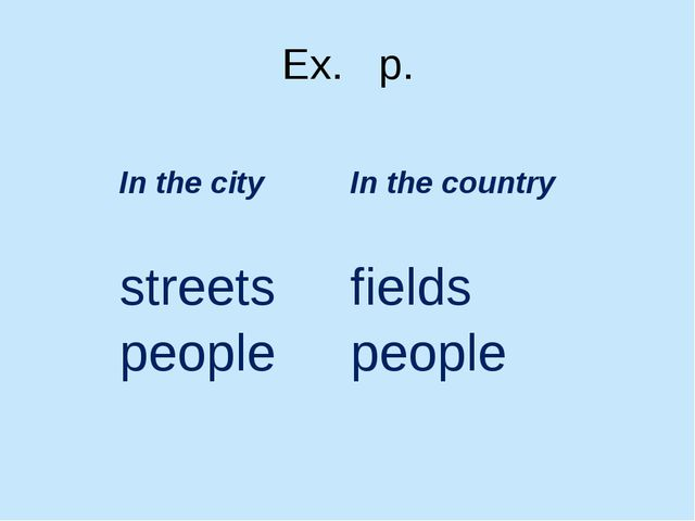 Ex. p. In the city In the country streets fields people people