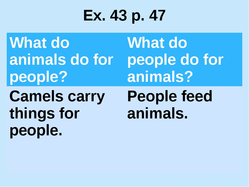 Ex. 43 p. 47 What do animals dofor people? What do people do for animals? Cam...