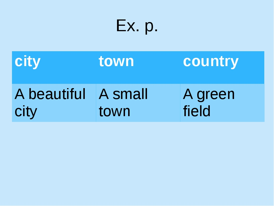 Ex. p. city town country A beautifulcity A small town A green field