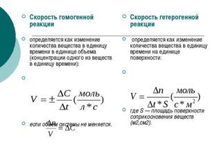Скорость гомогенной реакции определяется как изменение количества вещества в