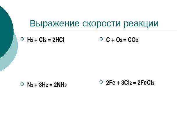 Выражение скорости реакции H2 + Сl2 = 2HСl N2 + 3H2 = 2NH3 C + O2 = CO2 2Fe +...