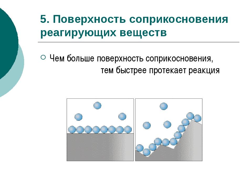 5. Поверхность соприкосновения реагирующих веществ Чем больше поверхность соп...