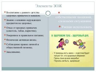 Элементы ЗОЖ Воспитание с раннего детства здоровых привычек и навыков; Знание
