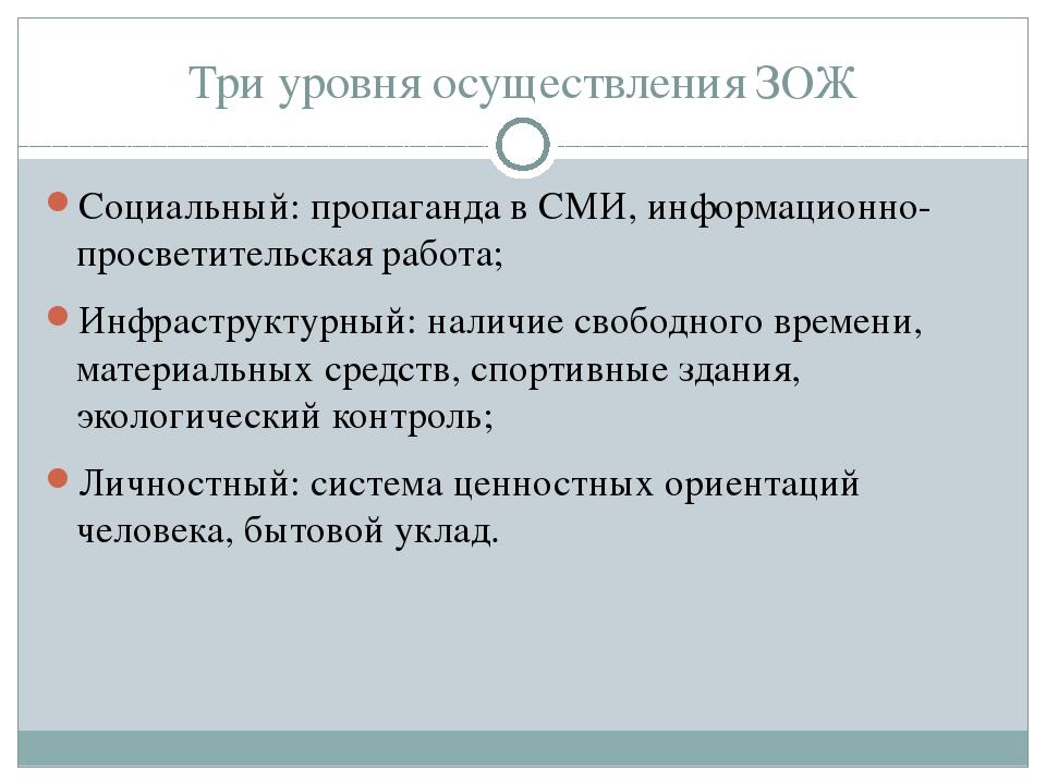 Три уровня осуществления ЗОЖ Социальный: пропаганда в СМИ, информационно-прос...