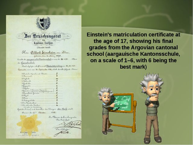 Einstein's matriculation certificate at the age of 17, showing his final gra...