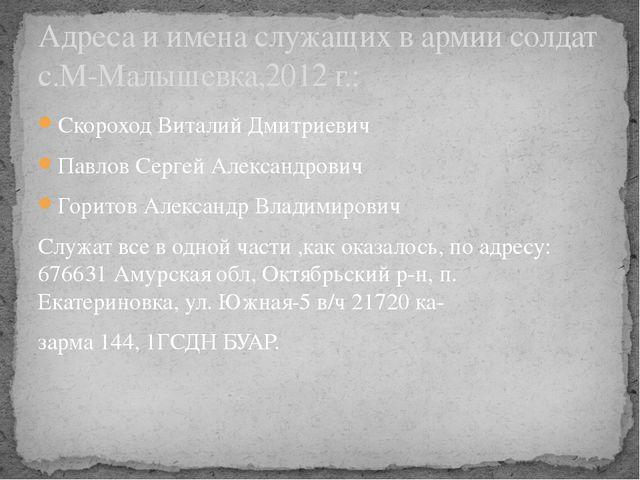 Скороход Виталий Дмитриевич Павлов Сергей Александрович Горитов Александр Вла...