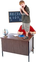 student standing on desk