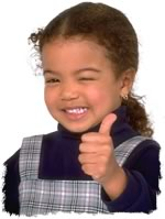 girl giving thumbs up gesture