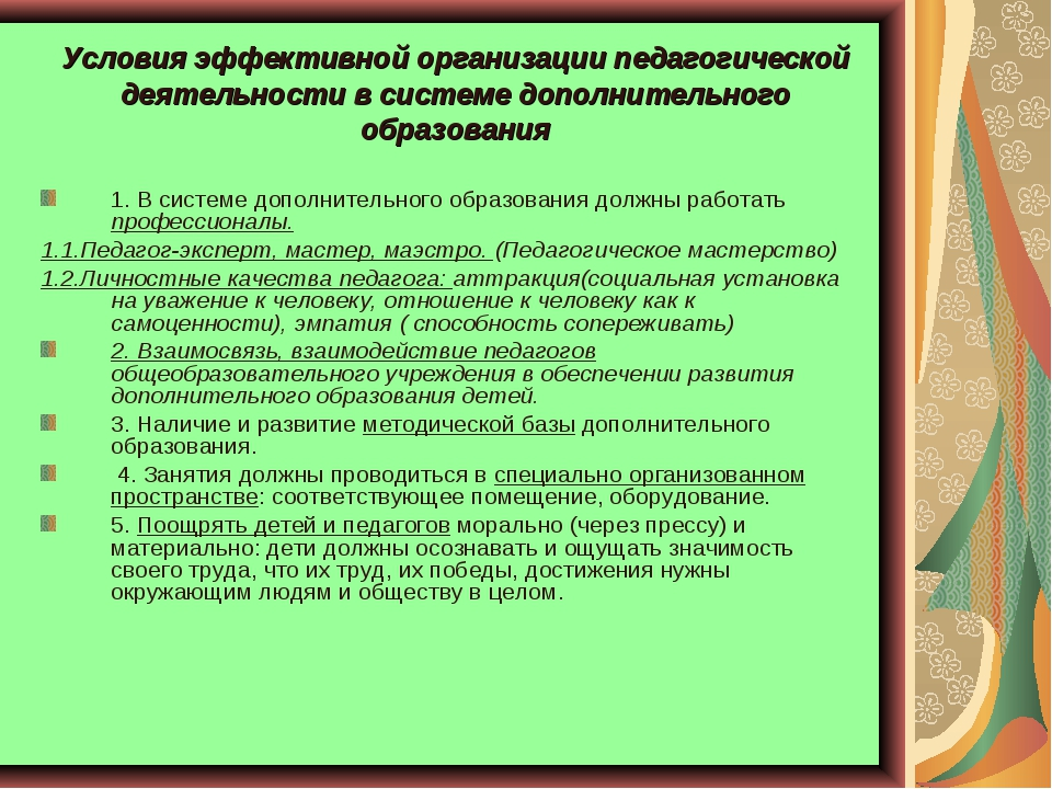 Условия эффективной организации педагогической деятельности в системе дополни...