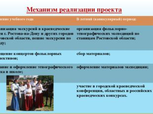 Механизм реализации проекта В течение учебного года В летний (каникулярный) п