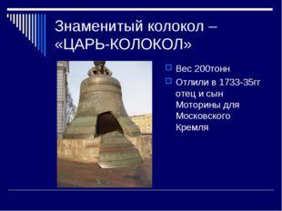 Знаменитый колокол – «ЦАРЬ-КОЛОКОЛ» Вес 200тонн Отлили в 1733-35гг отец и сын