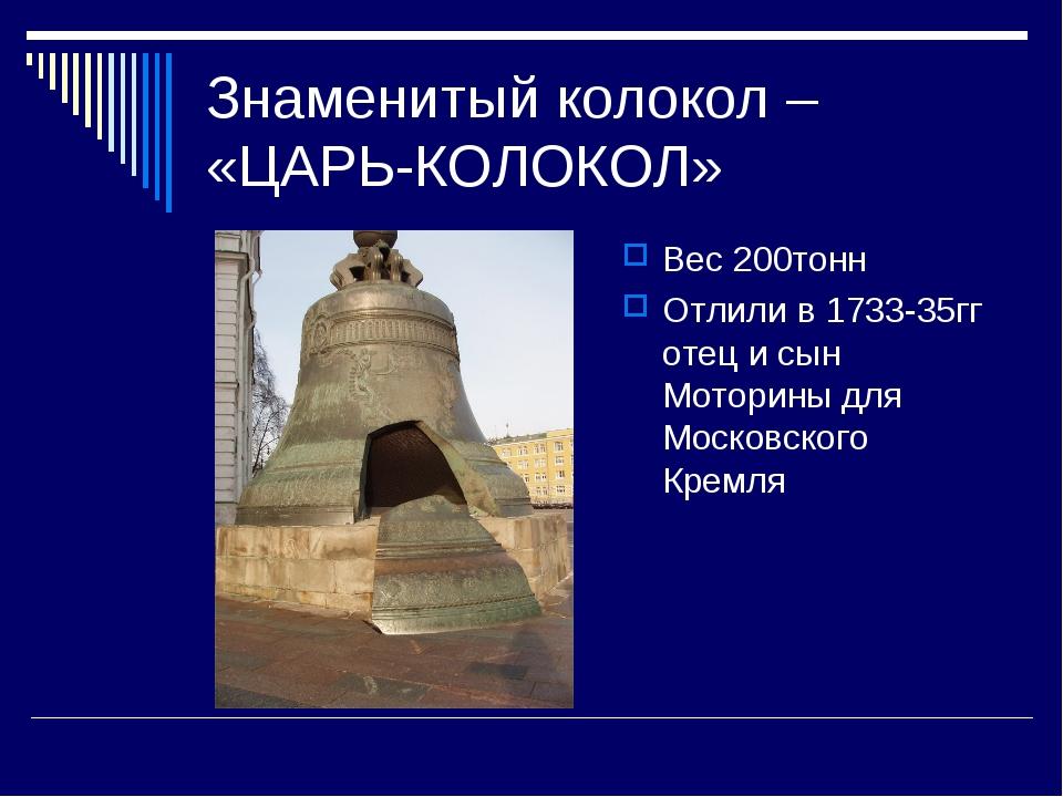 Знаменитый колокол – «ЦАРЬ-КОЛОКОЛ» Вес 200тонн Отлили в 1733-35гг отец и сын...