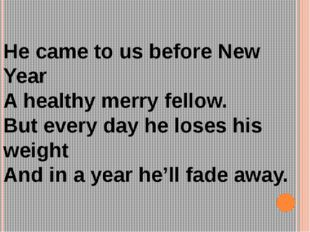 He came to us before New Year A healthy merry fellow. But every day he loses