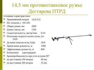 14,5 мм противотанковое ружье Дегтярева ПТРД Основные характеристики Применяе