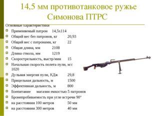14,5 мм противотанковое ружье Симонова ПТРС Основные характеристики Применяе