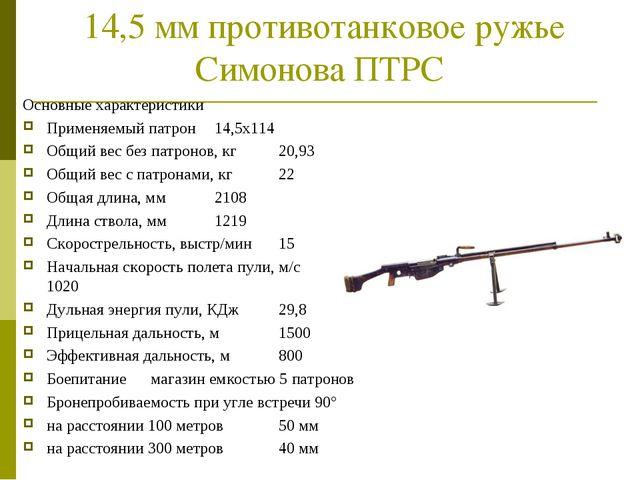 14,5 мм противотанковое ружье Симонова ПТРС Основные характеристики Применяе...