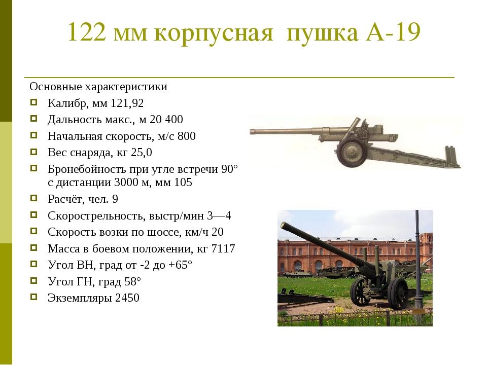 122 мм корпусная пушка А-19 Основные характеристики Калибр, мм 121,92 Дально...