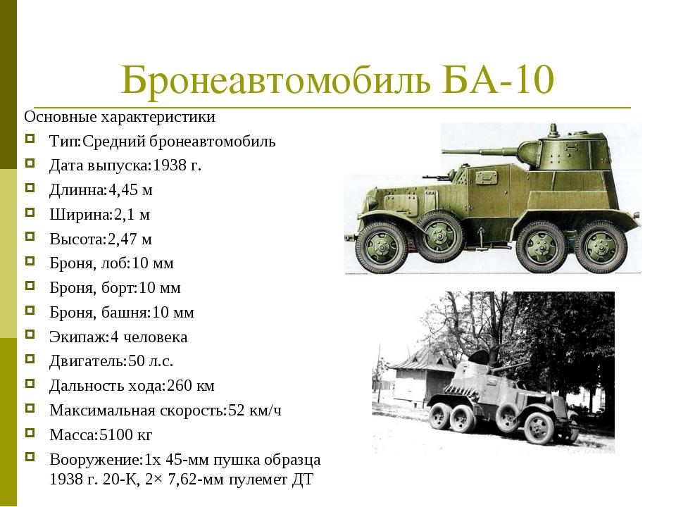 Бронеавтомобиль БА-10 Основные характеристики Тип:Средний бронеавтомобиль Дат...