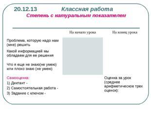 20.12.13 Классная работа Степень с натуральным показателем На начало урокаН