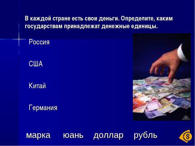 В каждой стране есть свои деньги. Определите, каким государствам принадлежат...