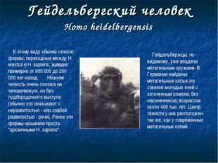 Гейдельбергский человек Homo heidelbergensis К этому виду обычно относят форм