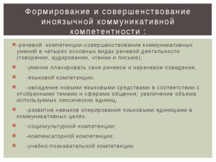 -речевой компетенции-совершенствование коммуникативных умений в четырех основ