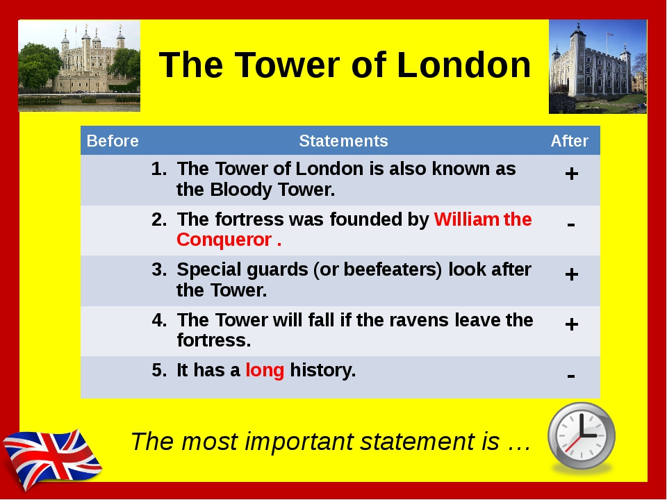 The Tower of London The most important statement is … Before Statements After...