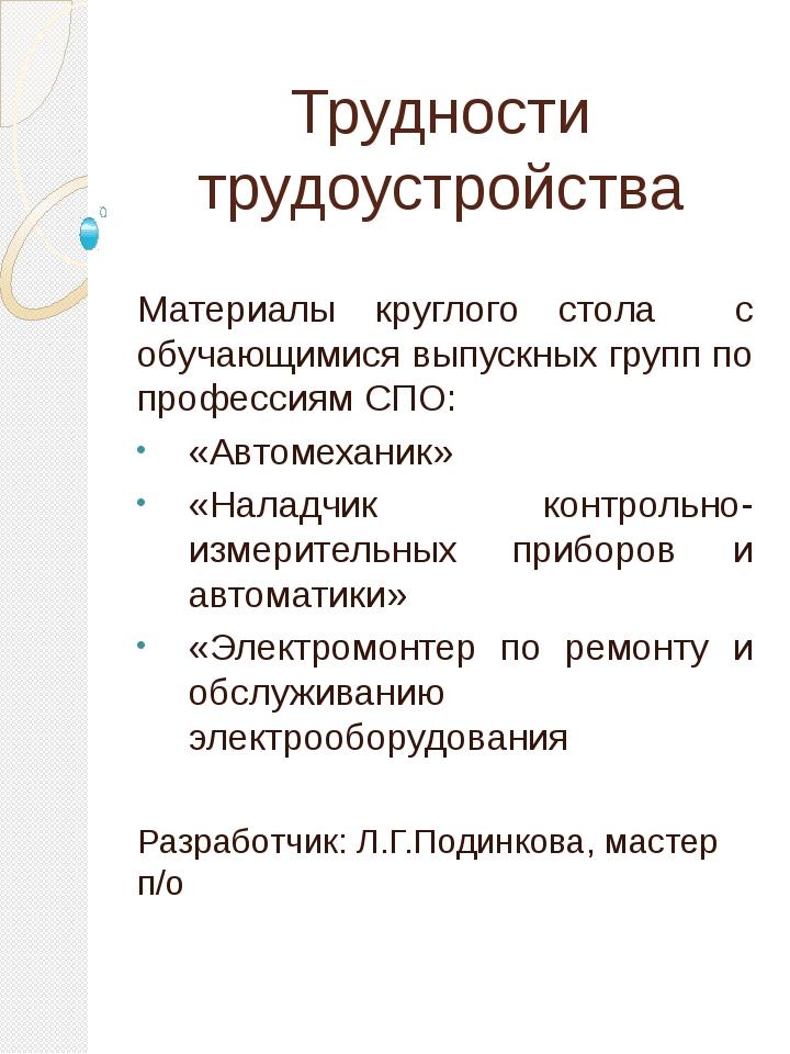 Трудности трудоустройства Материалы круглого стола с обучающимися выпускных г...