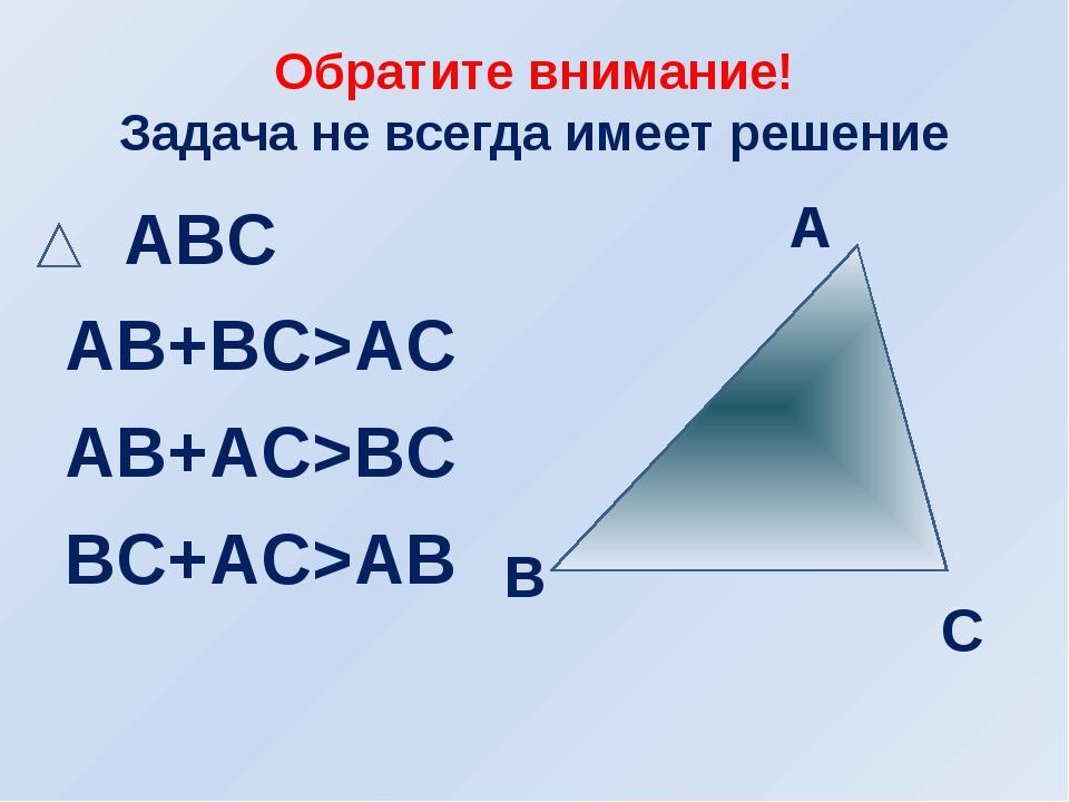 Обратите внимание! Задача не всегда имеет решение ABC AB+BC>AC AB+AC>BC BC+AC...