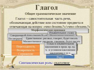 Глагол Общее грамматическое значение Глагол – самостоятельная часть речи