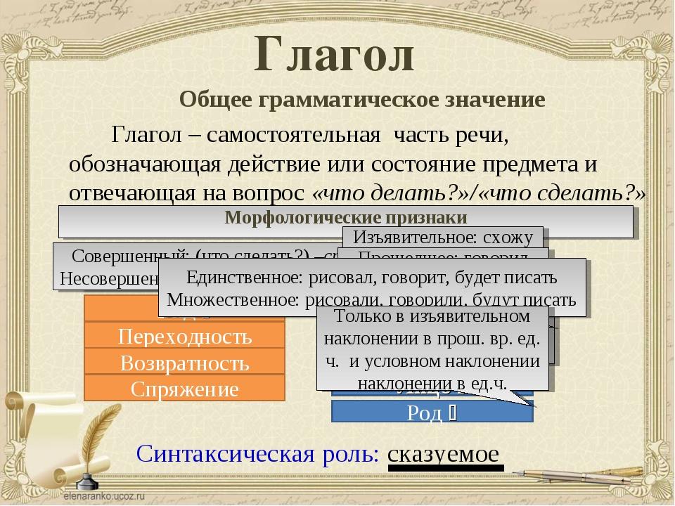 Глагол Общее грамматическое значение Глагол – самостоятельная часть речи...