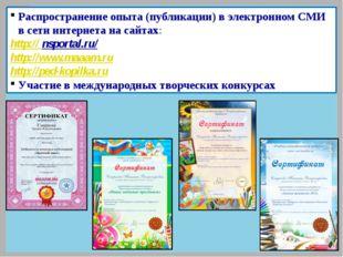 Распространение опыта (публикации) в электронном СМИ в сети интернета на сайт