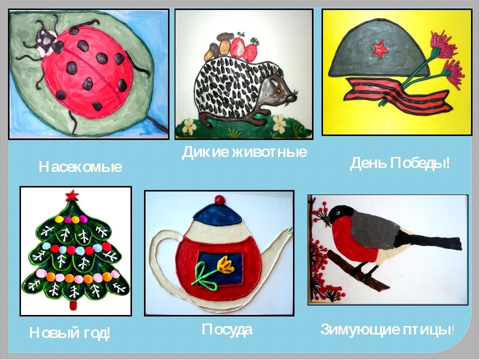 Насекомые Дикие животные День Победы! Новый год! Посуда Зимующие птицы!