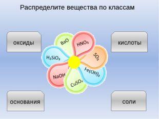 Распределите вещества по классам оксиды кислоты основания соли учитель химии