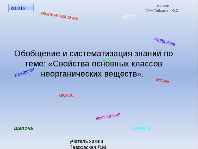 8 класс УМК Габриелян О.С. учитель химии Тавровская Л.М. МОУ СОШ №11 п. Новый...