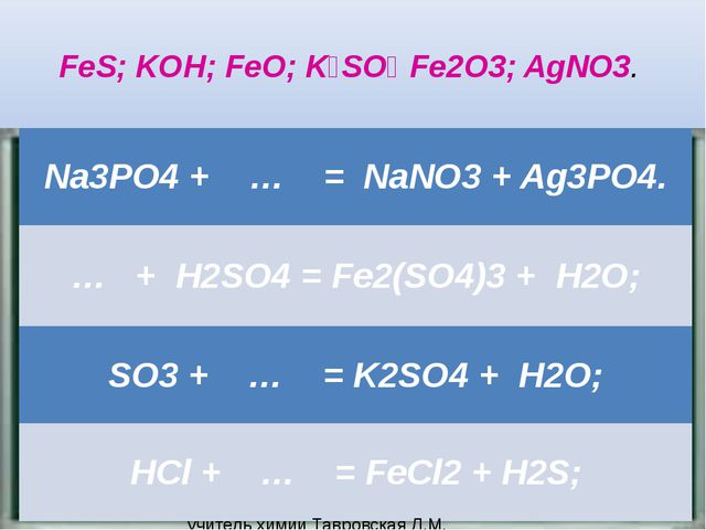 FeS; KOH; FeO; K₂SO₄ Fe2O3; AgNO3. учитель химии Тавровская Л.М. МОУ СОШ №11...