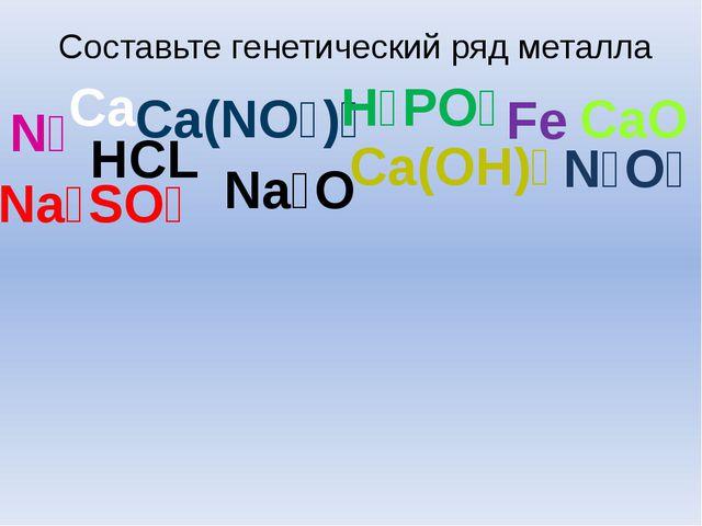 Составьте генетический ряд металла Cа HCL Ca(OH)₂ N₂O₅ Na₂O Ca(NO₃)₂ Na₂SO₄ C...