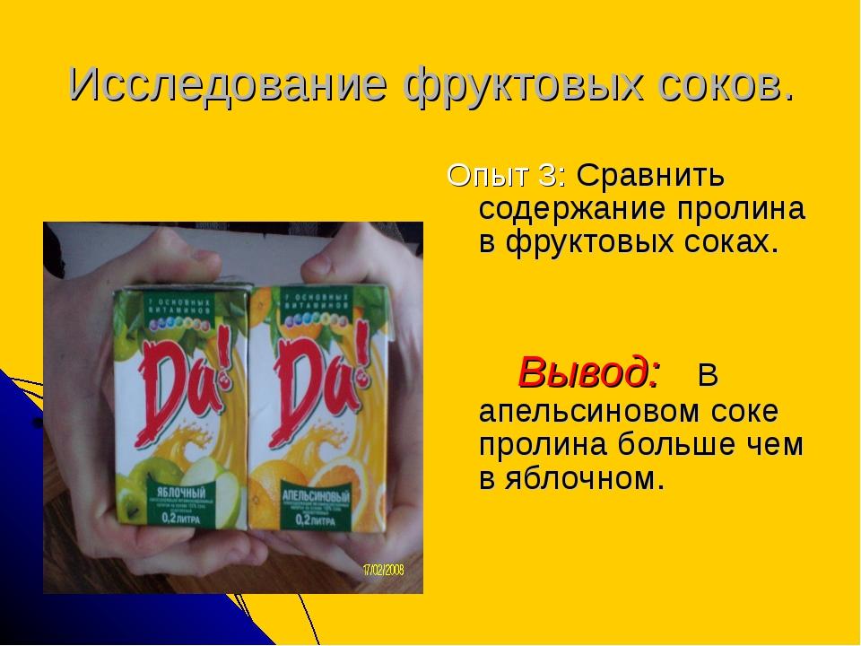 Исследование фруктовых соков. Опыт 3: Сравнить содержание пролина в фруктовых...
